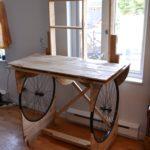 bureau bois roues de vélo
