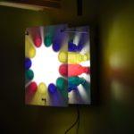 lampe bois, bouteilles, plexyglass